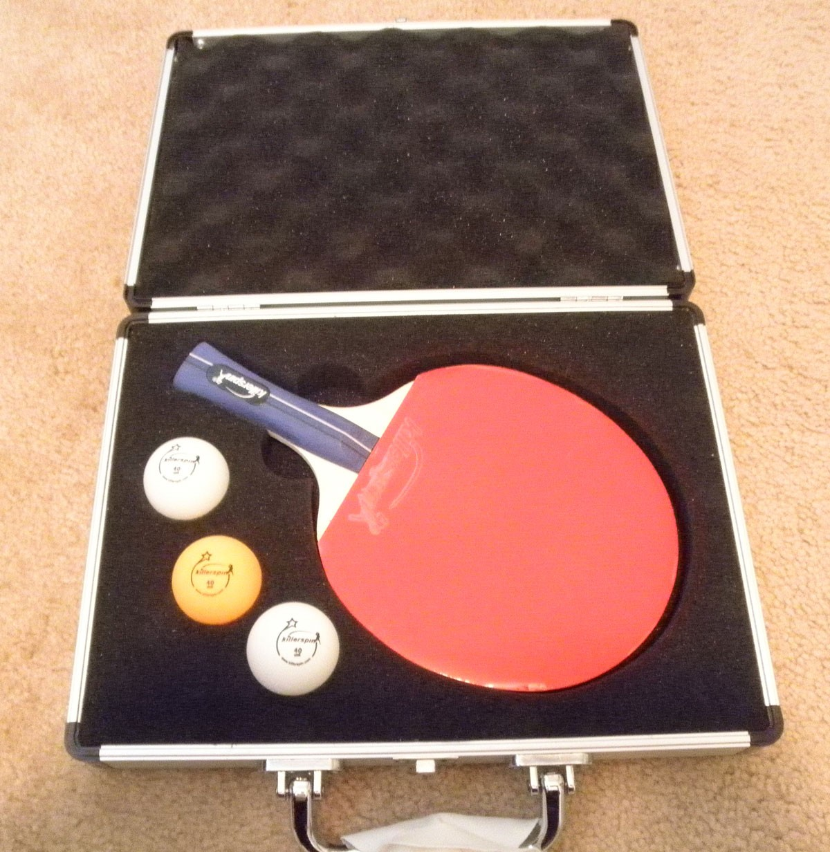 Spin Red Metallic Case With Jet 200 Basic Paddle And 3 Personalized Custom